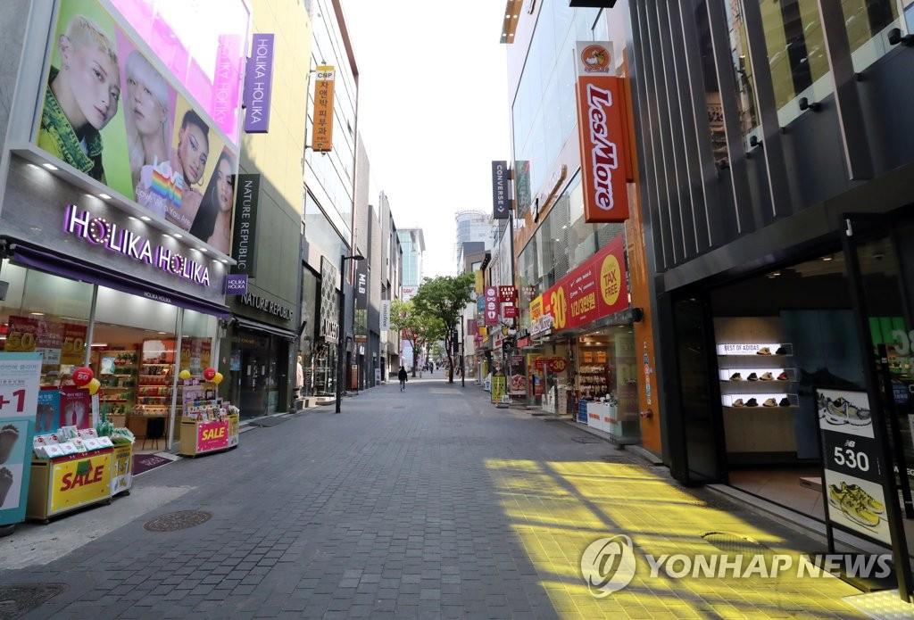 지난 4월 28일 한산한 서울 중구 명동 거리 [연합뉴스 자료사진]