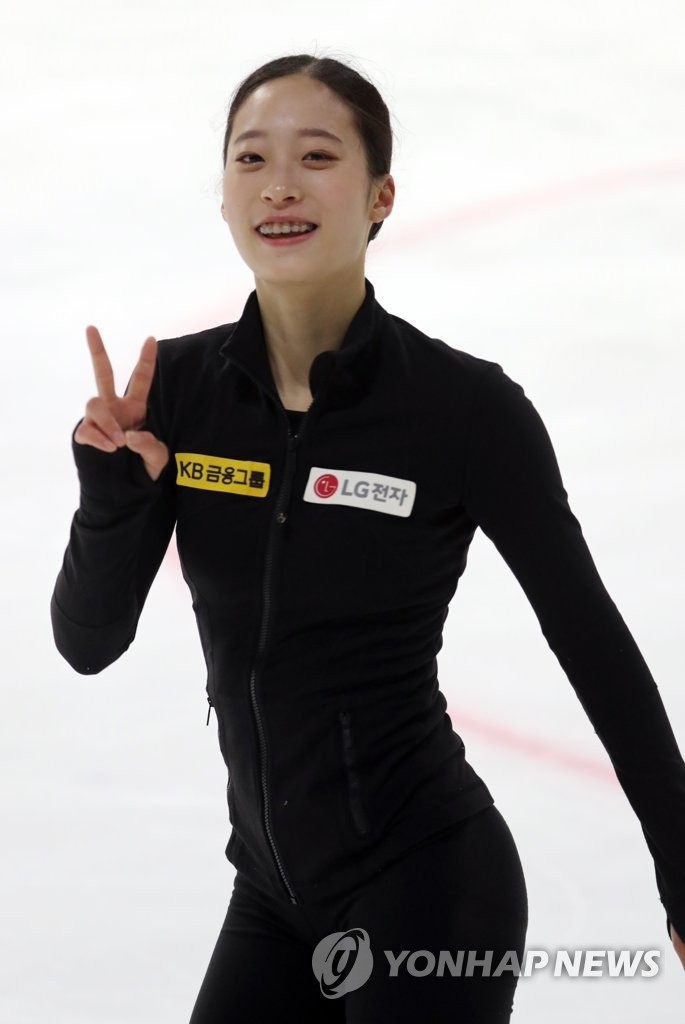 South Korean figure skater You Young poses for photos during her practice at Mokdong Ice Rink in Seoul on May 14, 2020. (Yonhap)
