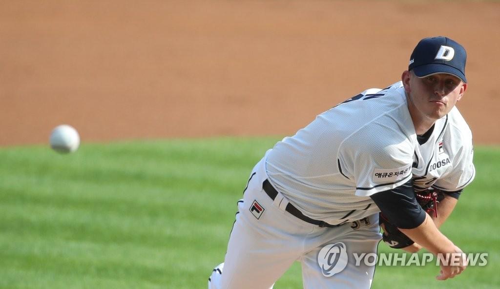 '타구에 왼발 맞은' 두산 플렉센, 17일 재검진(종합) | 연합뉴스