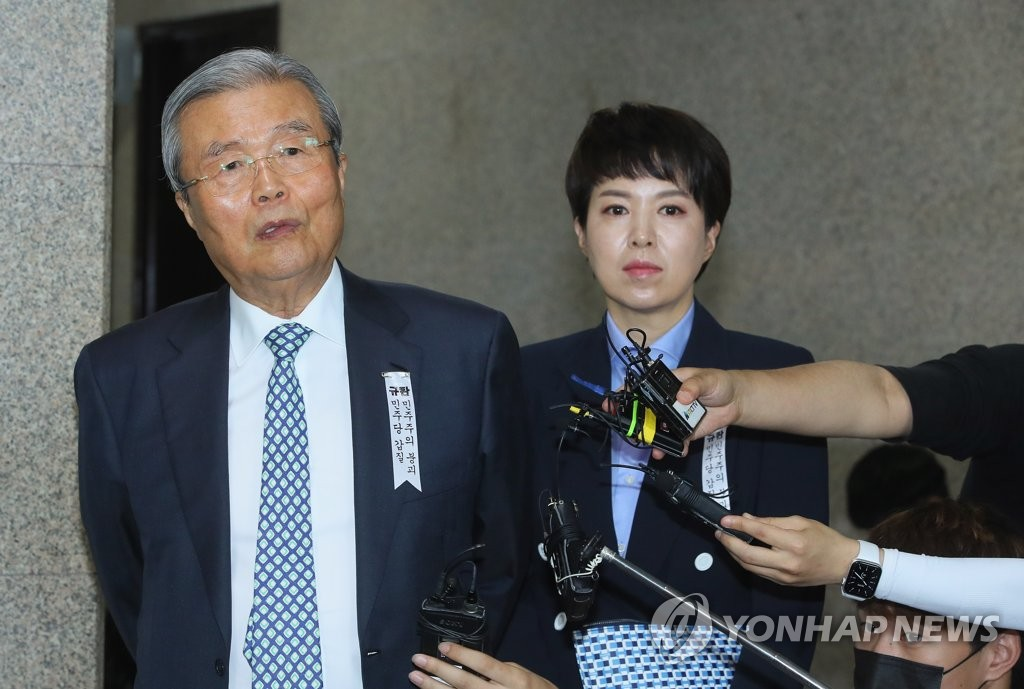 The main opposition United Future Party's interim leader Kim Chong-in speaks to the media at the National Assembly in Seoul on July 2, 2020. (Yonhap)
