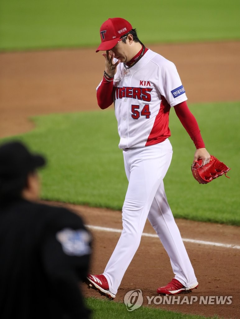 In this file photo from July 10, 2020, Yang Hyeon-jong of the Kia Tigers walks off the mound during the top of the sixth inning of a Korea Baseball Organization regular season game against the Kiwoom Heroes at Gwangju-Kia Champions Field in Gwangju, 330 kilometers south of Seoul. (Yonhap)