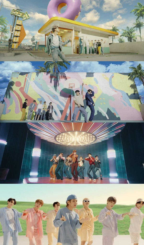 "This image provided by Big Hit Entertainment shows highlights from the music video for K-pop boy group BTS' new single ""Dynamite"" released on Aug. 21, 2020. (PHOTO NOT FOR SALE) (Yonhap)"