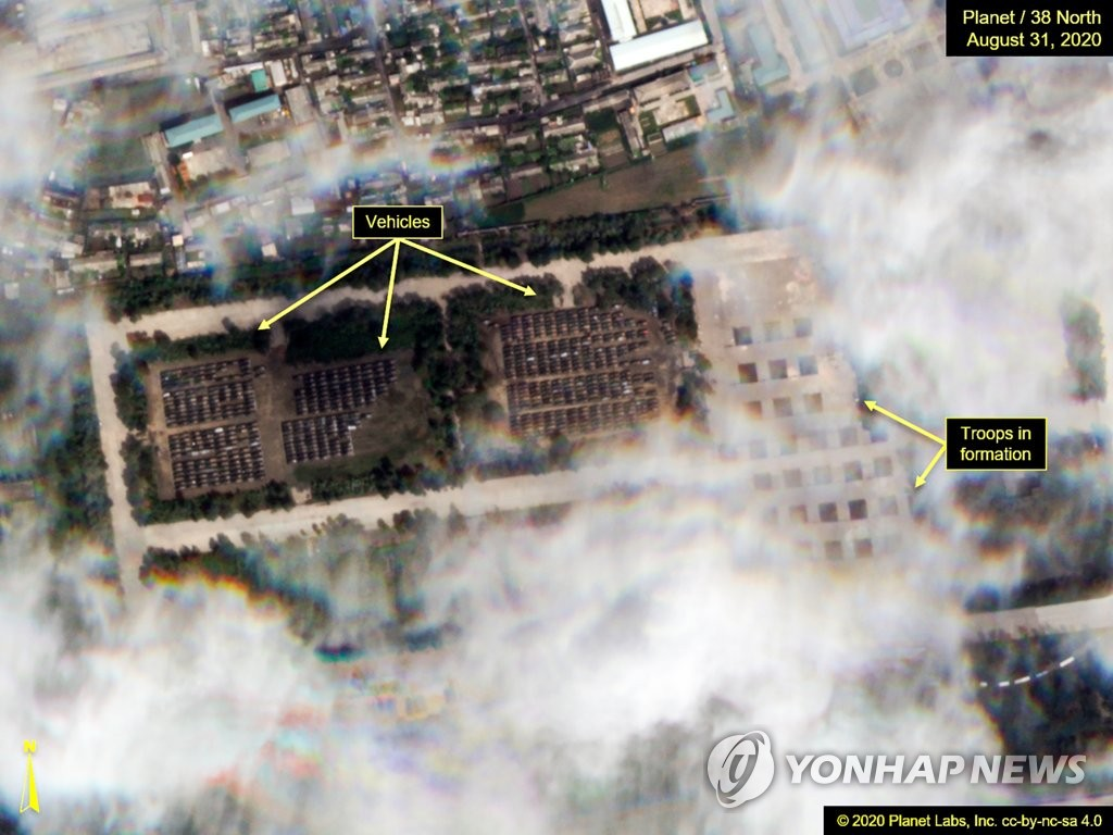 This satellite image, taken by Planet Labs on Aug. 31, 2020, and made public by 38 North on Sept. 1, shows the Mirim Airport in Pyongyang, where preparations for a large-scale military parade are under way to celebrate the 75th anniversary of North Korea's ruling Workers' Party. (PHOTO NOT FOR SALE) (Yonhap)