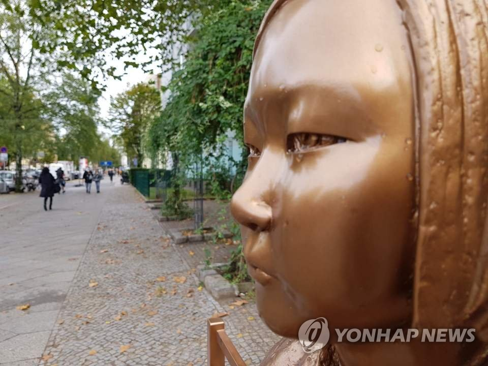 This photo taken on Sept. 27, 2020, shows the comfort woman statue, symbolizing Korean victims of wartime sexual slavery by the imperial Japanese army during World War II, erected in Berlin. (Yonhap)