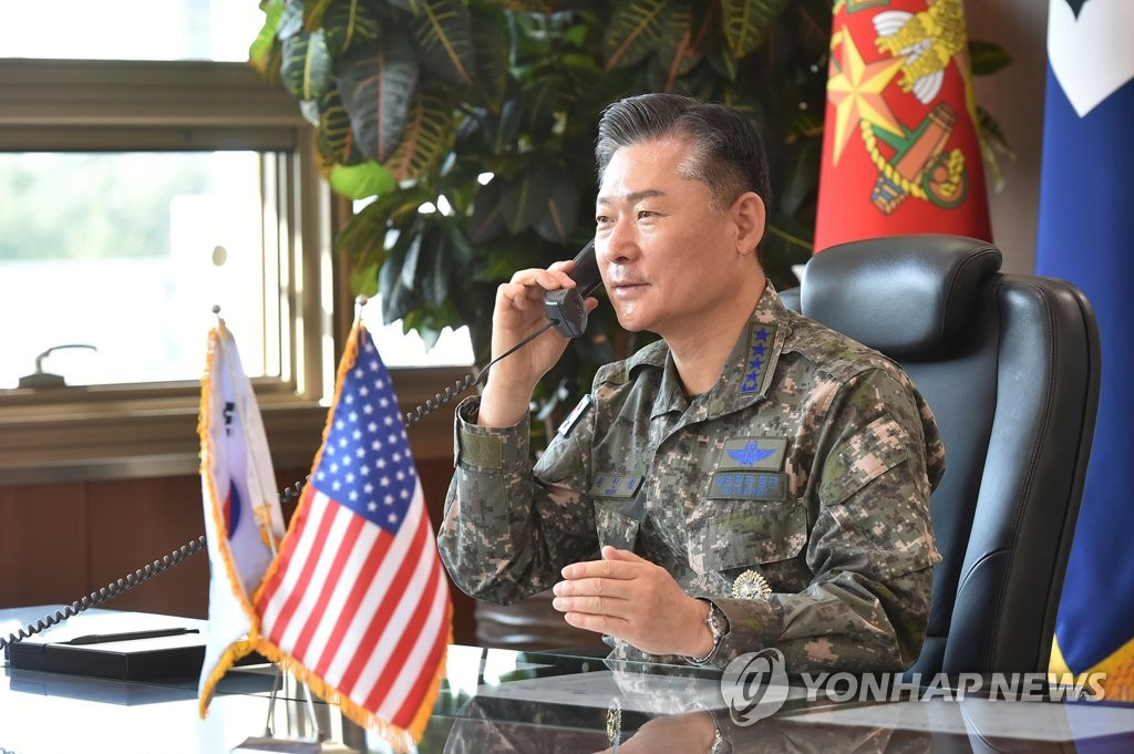 South Korea's new Joint Chiefs of Staff (JCS) chairman Gen. Won In-choul holds phone talks with his U.S. counterpart Mark Milley on Oct. 6, 2020, vowing to strengthen the combined defense posture based on the ironclad alliance, in this photo provided by the JCS. (PHOTO NOT FOR SALE) (Yonhap)