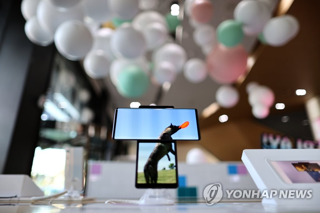 This file photo, taken Oct. 6, 2020, shows LG Electronics Inc.'s dual-screen smartphone, the Wing. (Yonhap)