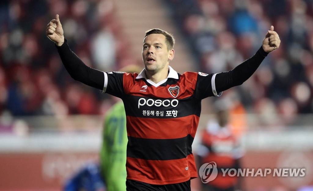 Stanislav Iljutcenko of Pohang Steelers celebrates his goal against Ulsan Hyundai FC during a K League 1 match at Pohang Steel Yard in Pohang, 370 kilometers southeast of Seoul, on Oct. 18, 2020. (Yonhap)
