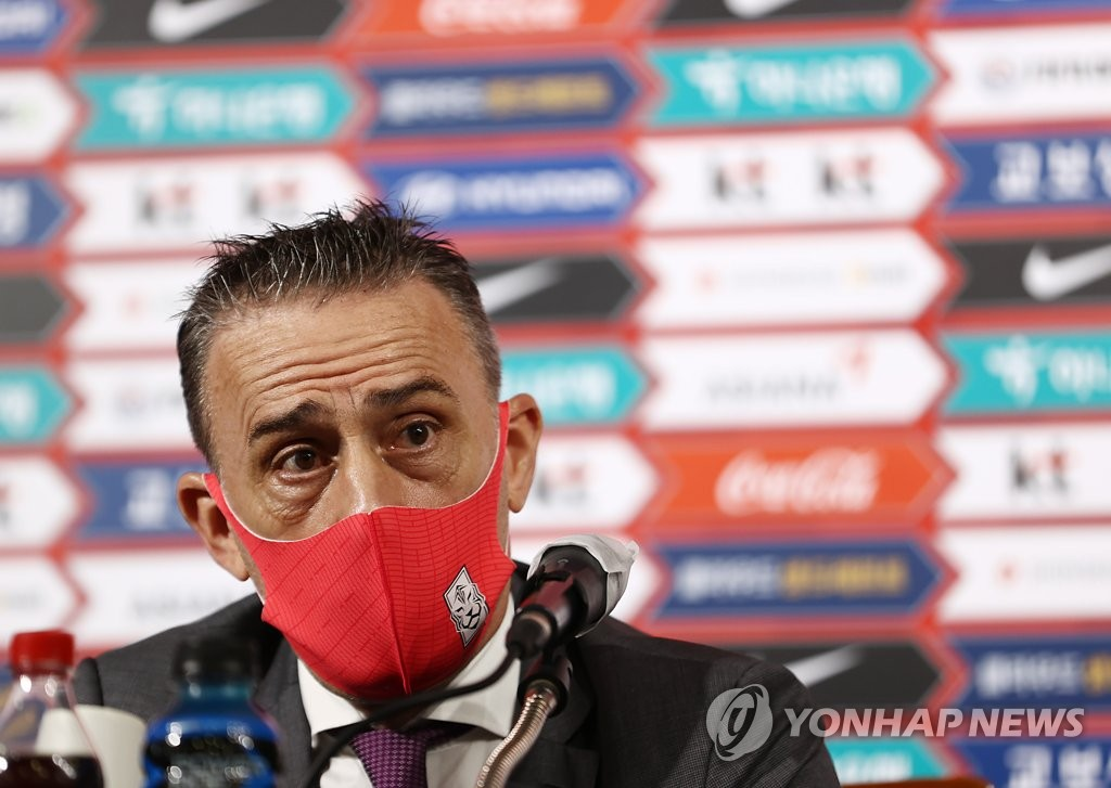 Paulo Bento, head coach of the South Korean men's national football team, speaks at a press conference at the Korea Football Association House in Seoul on Nov. 2, 2020. (Yonhap)