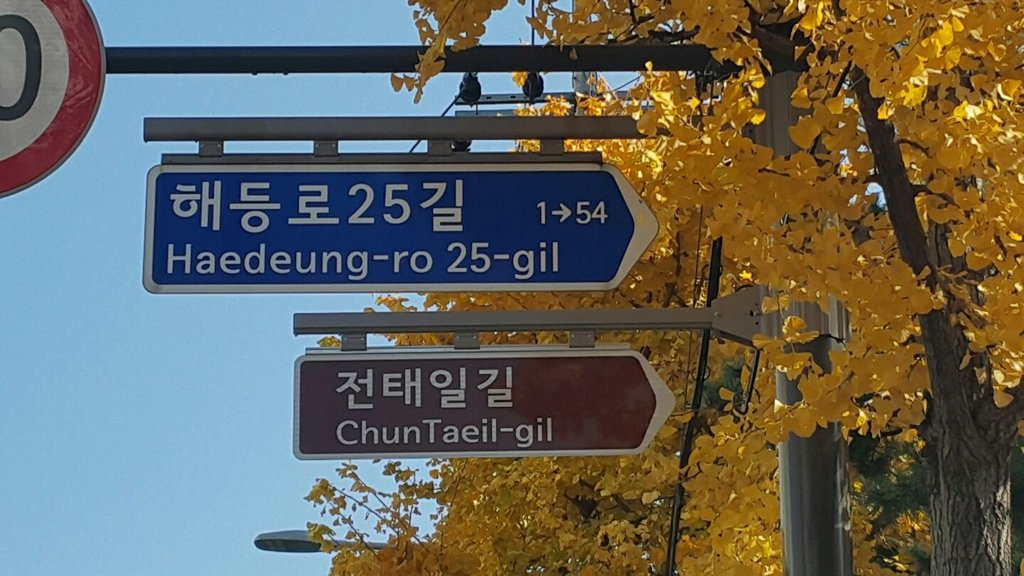 "This photo, provided by the office of Seoul's Dobong Ward, shows a road sign for ""ChunTaeil-gil,"" an honorary road named after an iconic South Korean labor activist, in northern Seoul. (PHOTO NOT FOR SALE) (Yonhap)"