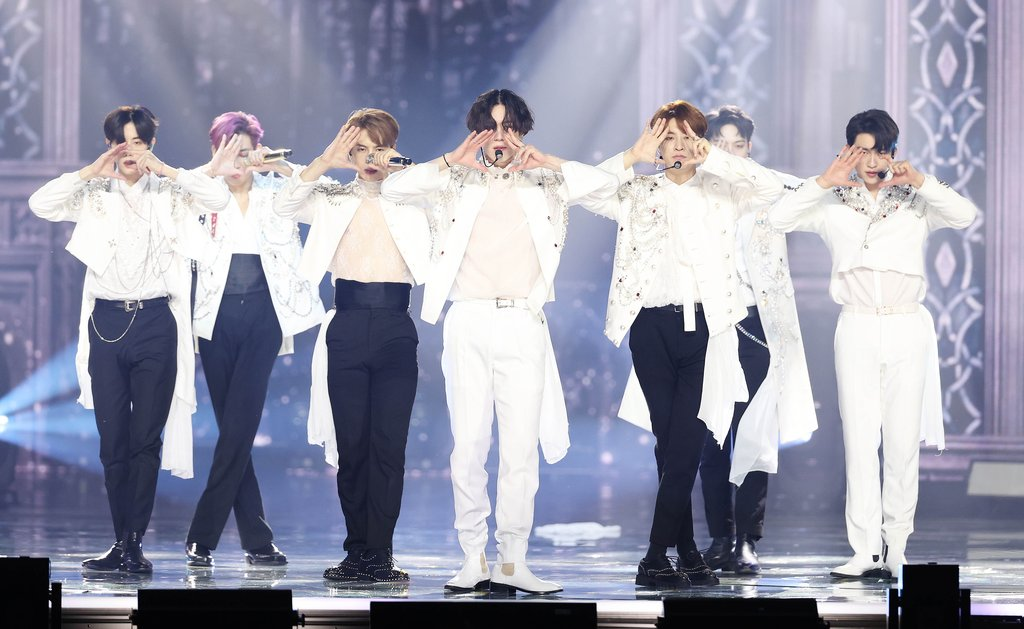 This photo, provided by the secretariat of the Golden Disk Awards, shows GOT7 performing at the 35th Golden Disk Awards with Curaprox on Jan. 10, 2021. (PHOTO NOT FOR SALE) (Yonhap)