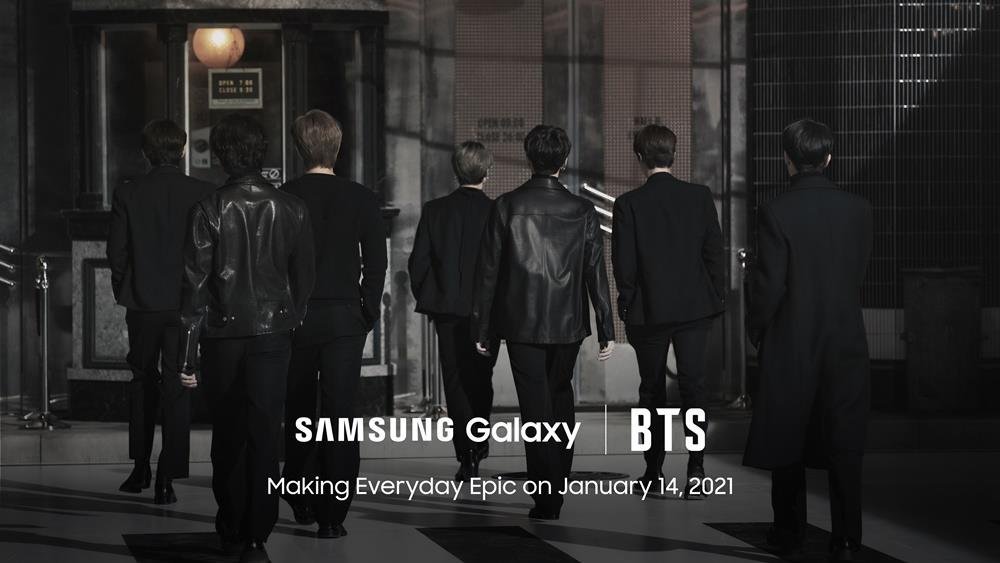 This teaser image, provided by Samsung Electronics Co. on Jan. 11, 2021, for the company's Galaxy Unpacked 2021 event, shows K-pop group BTS. (PHOTO NOT FOR SALE) (Yonhap)