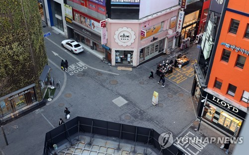 Empty street in Myeongdong