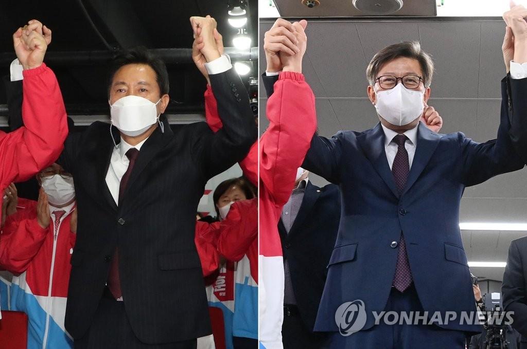 서울·부산시장 선거, 오세훈·박형준 압승 예측