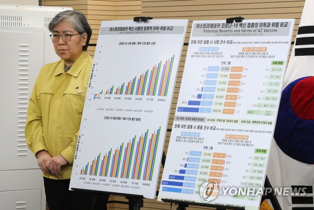 KDCA Commissioner Jeong Eun-kyeong holds a daily briefing at the Korea Disease Control and Prevention Agency's headquarters in Cheongju, 137 kilometers south of Seoul, on April 11, 2021. (Yonhap)