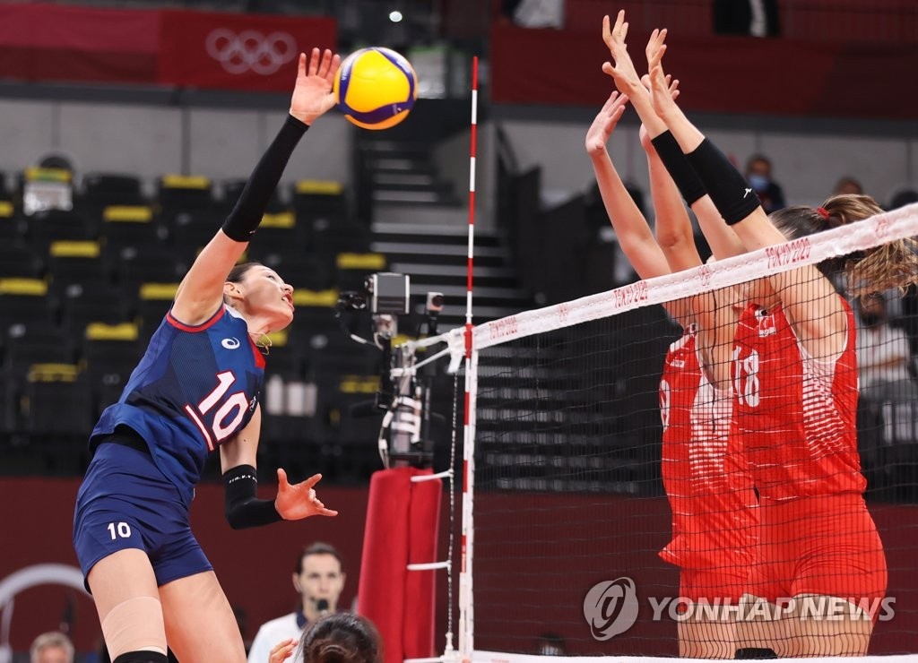 Kim Yeon-koung of South Korea (L) hits a spike against Turkey in the quarterfinals of the Tokyo Olympic women's volleyball tournament at Ariake Arena in Tokyo on Aug. 4, 2021. (Yonhap)